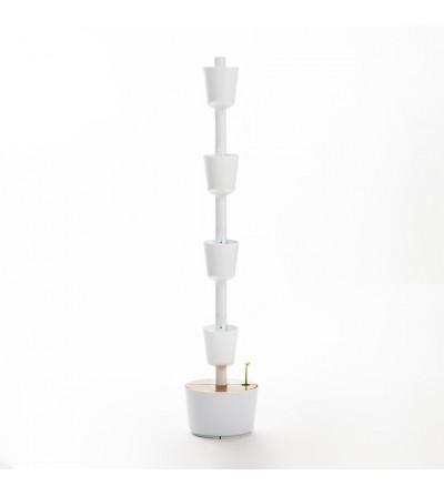 weißer vertikaler Blumentopf mit automatischer Bewässerung