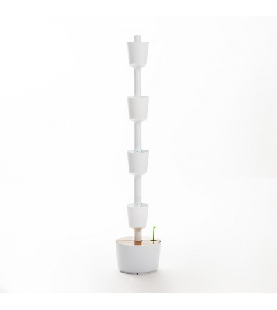 White Self-Watering Vertical Planter