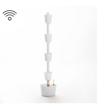 weißer vertikaler Blumentopf mit Wifi-Selbstbewässerung