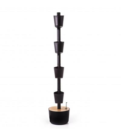 Macetero vertical negro 100% reciclado con autorriego