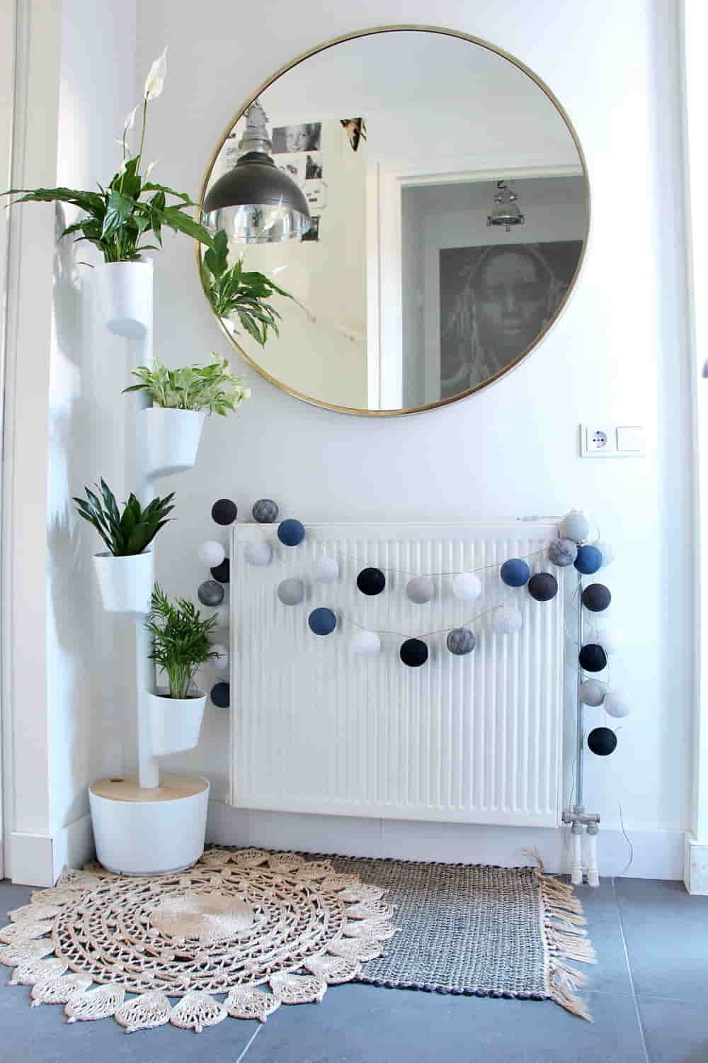 Entrance hall with self-watering planter